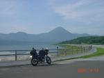 青森県 恐山・宇曾利山湖です。右の方に恐山の山門等があります。